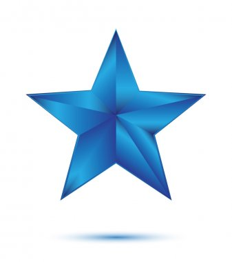 3D blue star on white