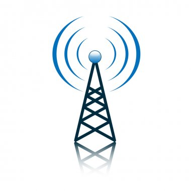 Blue antenna mast sign