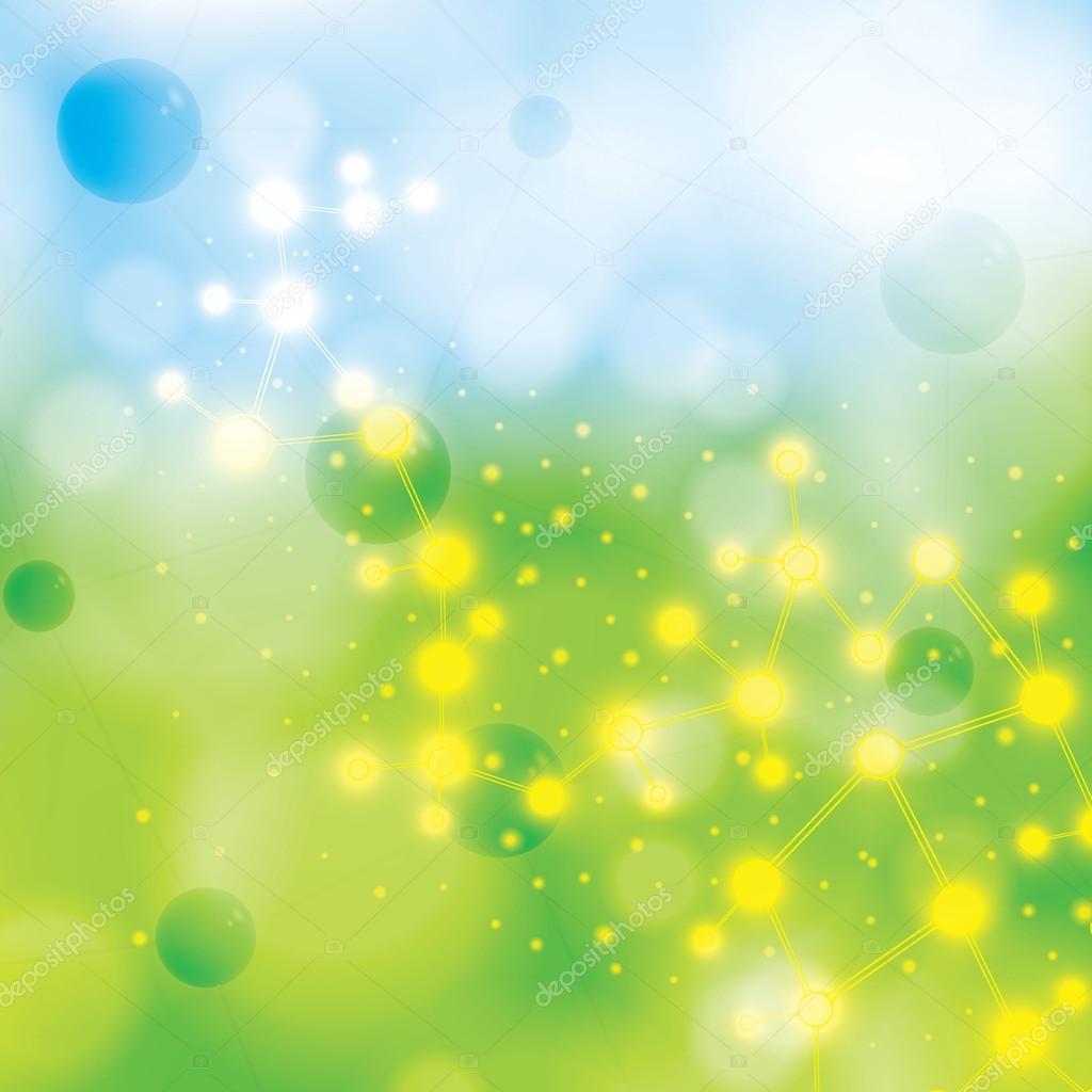 Molecule blue green background