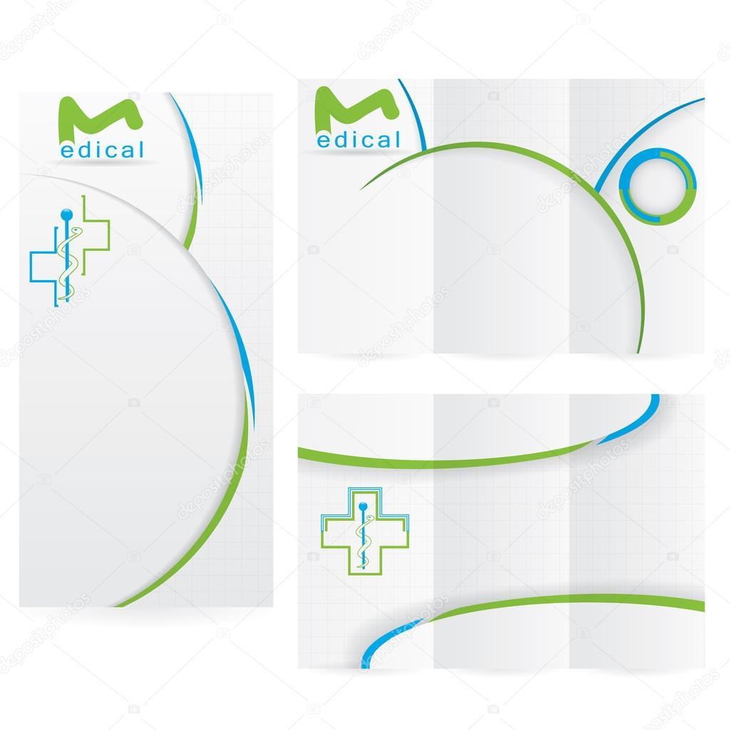 Vector folleto diseño diseño plantilla verde medical — Archivo ...