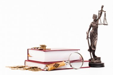Law book, magnifying glass and lady of justice