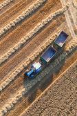 Fotografia trattore sul campo di raccolta