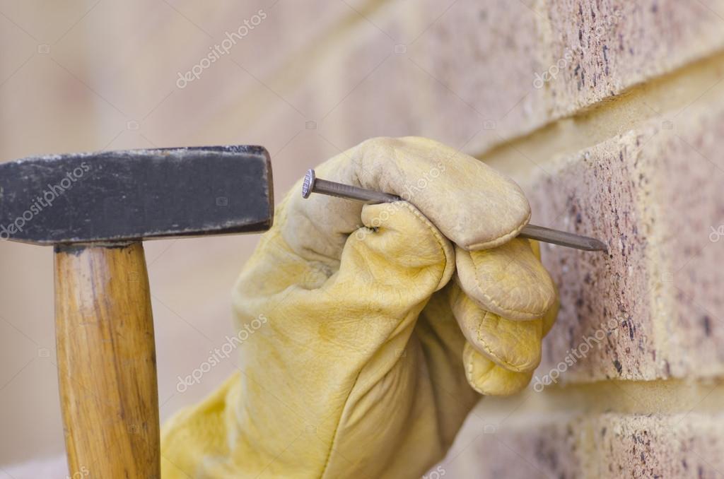 Closeup Hammer Nagel Hand Renovierung U2014 Stockfoto