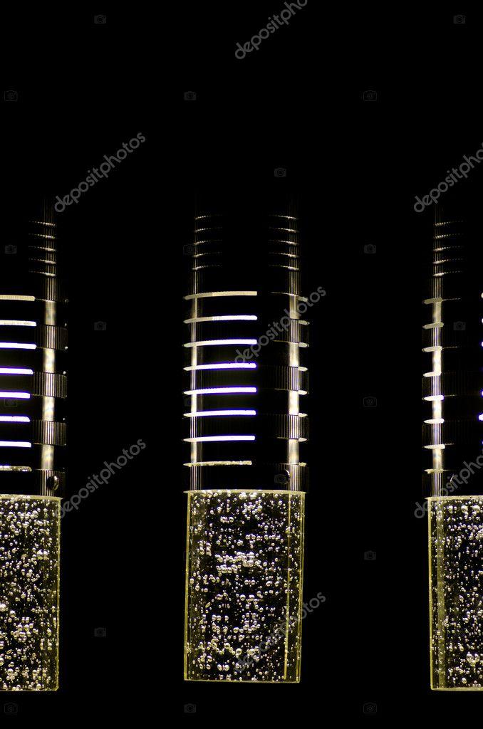 Moderne Designer Lampen Schwarz Hintergrund Stockfoto