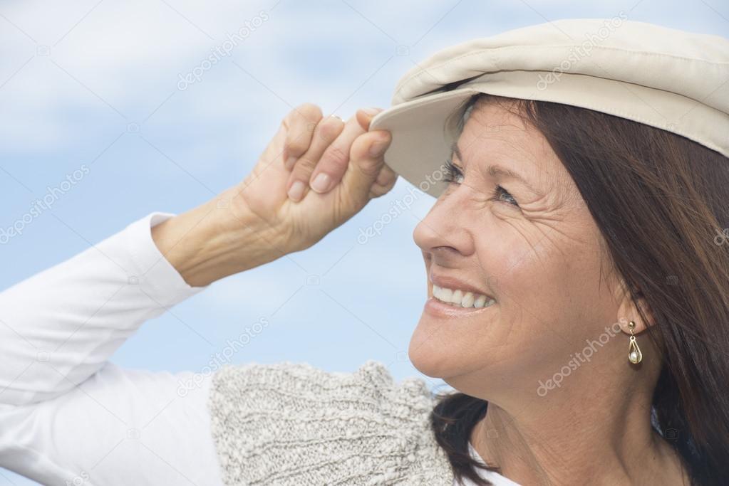 Portrait smiling attractive mature woman