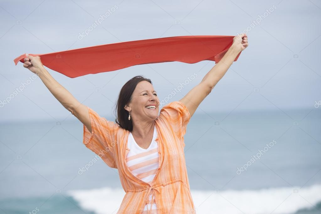 Mature woman happy joyful outdoor