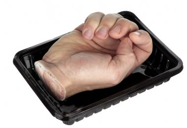 Hand in a tray