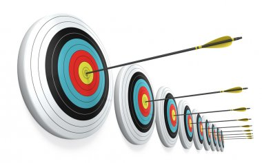 Arrows hitting the center of targets - success business concept stock vector