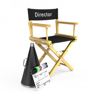Director chair, megaphone and clapper board
