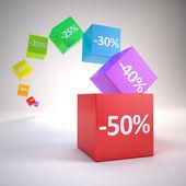 Farbwürfel mit Rabatt-Prozentsatz