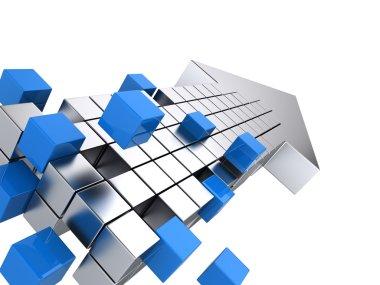Teamwork business concept - arrow assembling from blocks