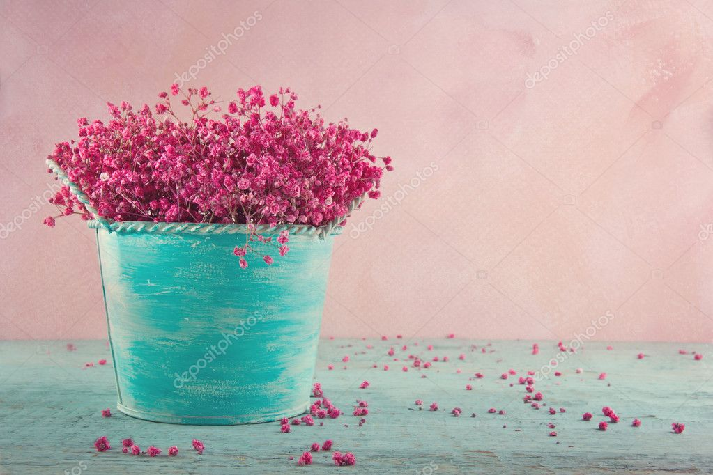 Pink baby's breath flowers on wooden background