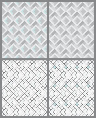 Set of geometric patterns. Seamless textures