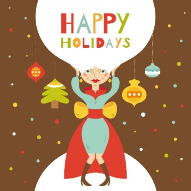 Happy holidays. Greeting card with beautiful lady. Vector illustration clip art vector