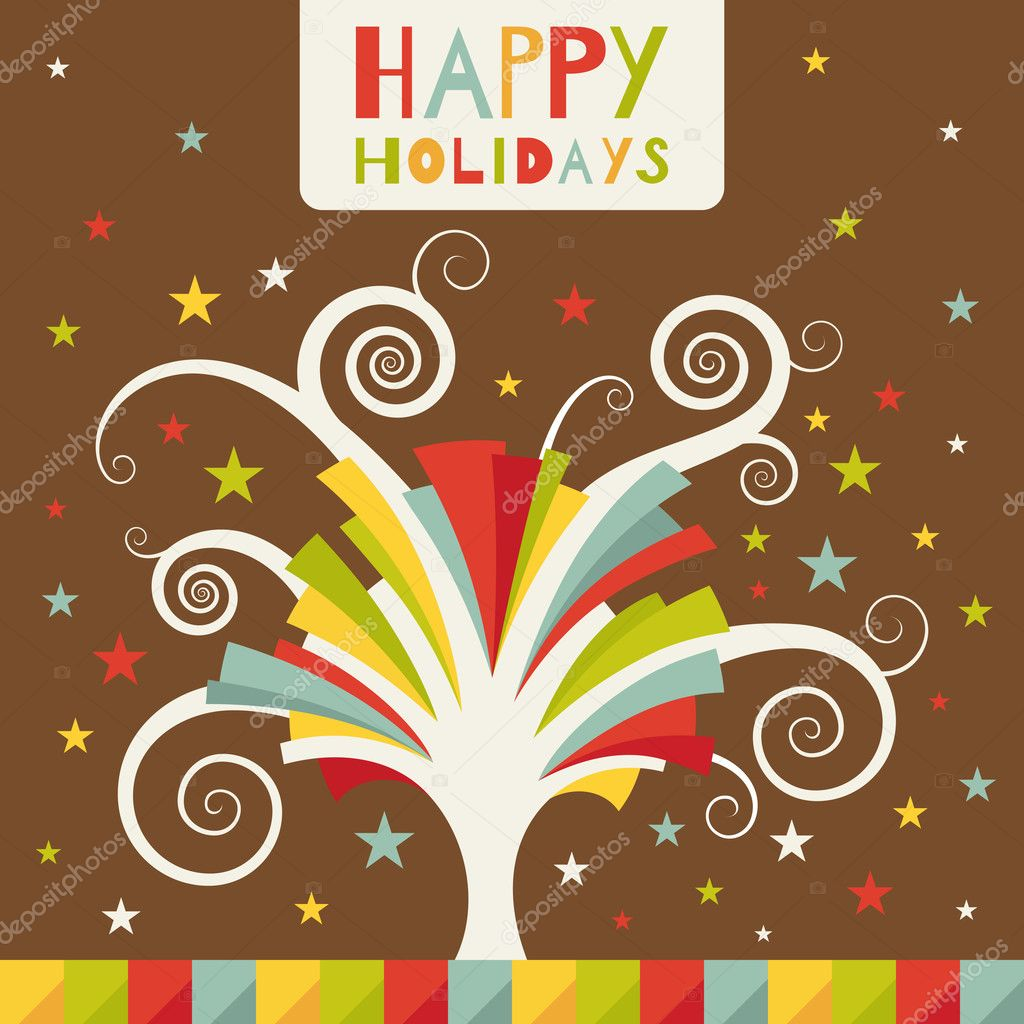 Happy holidays. Greeting card with colored tree