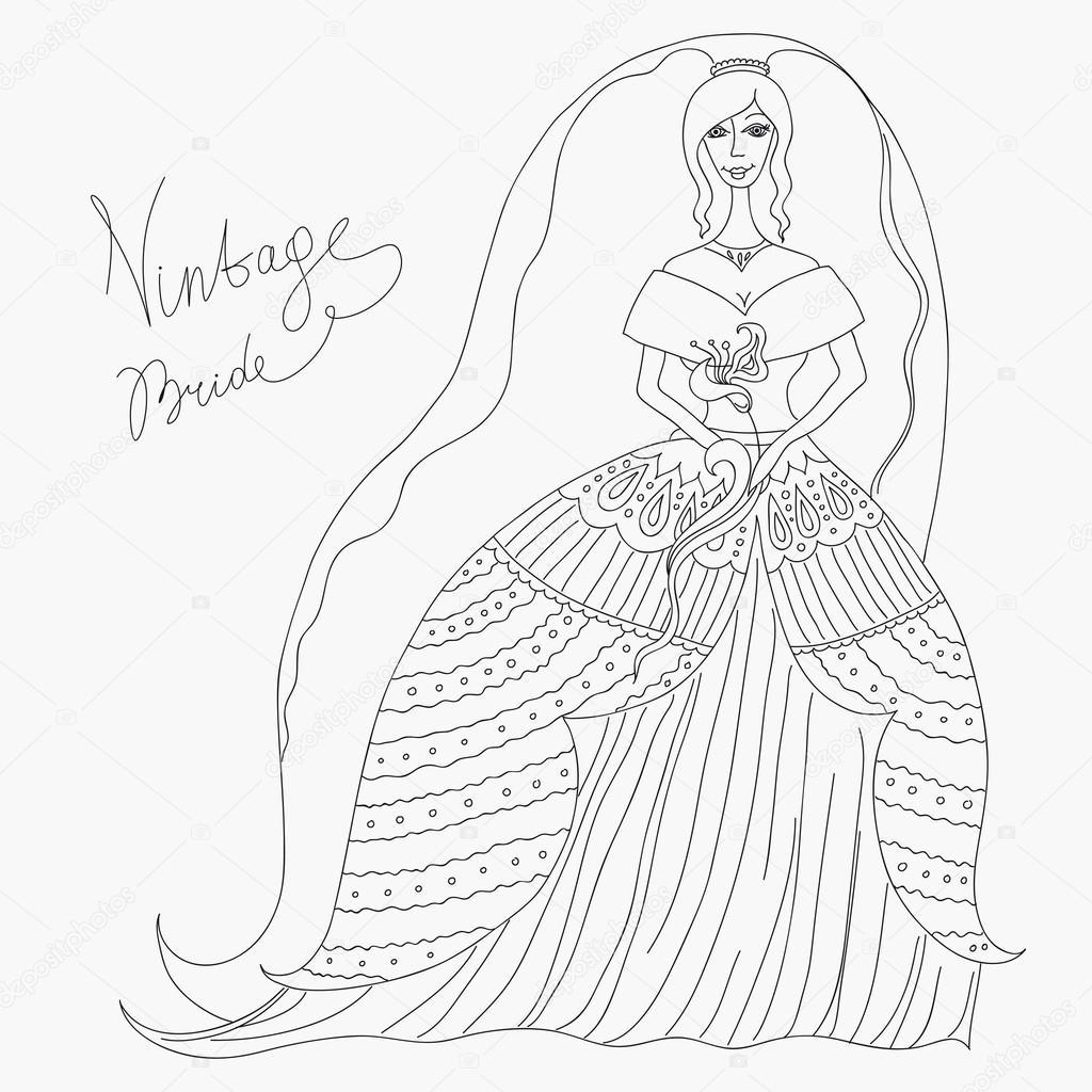 Vintage Bride Stock Vector