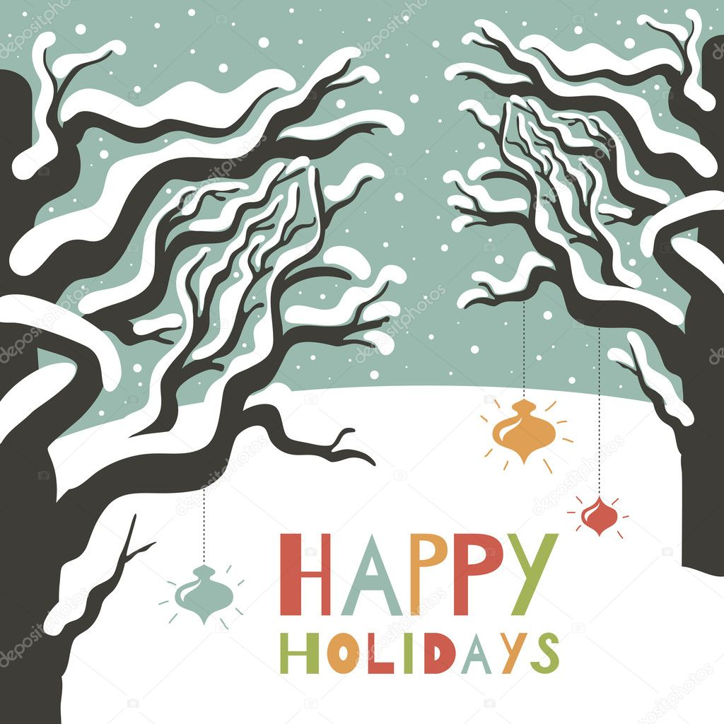 Winter happy holidays greeting card.
