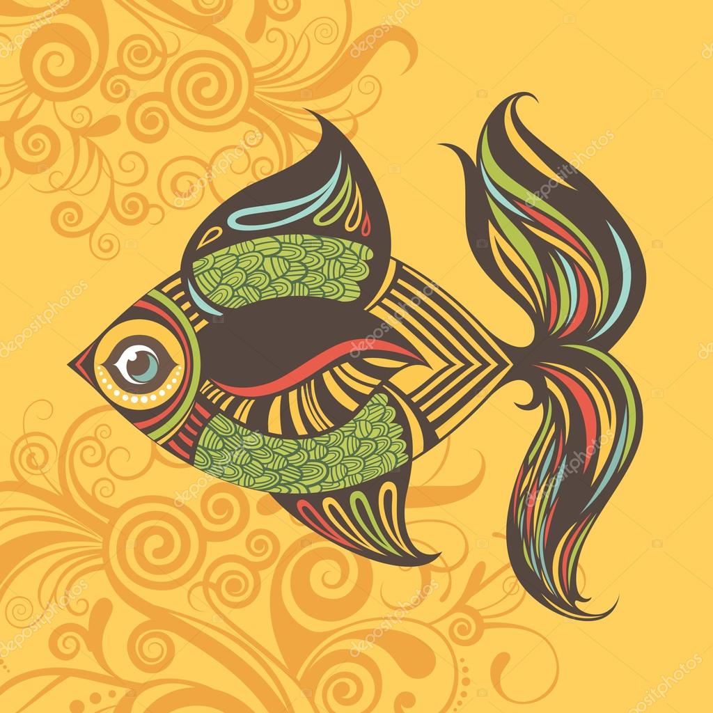 Cartoon vector colored fish illustration