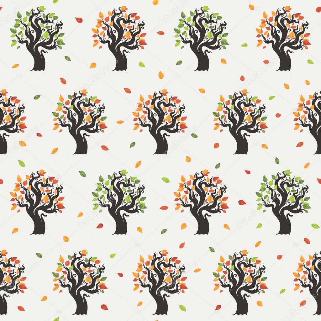 Seamless tree pattern with forest