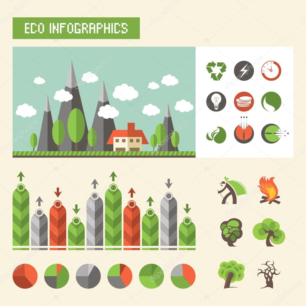 Ecology infographics. Vector set