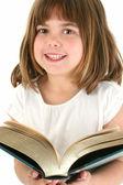 šťastná dívka s velkou knihou