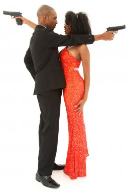 Attractive Black Couple in Formalwear with guns