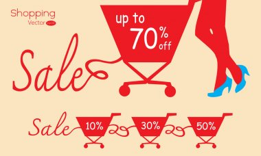 Shopping cart with sale. Vector illustration