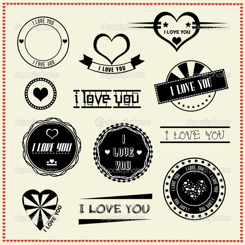 set of i love you vintage retro style labels stock vector comzeal 24362729. Black Bedroom Furniture Sets. Home Design Ideas