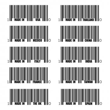 Set of black barcode of Made In symbols, including Italy, France, USA, UK, Spain, Thailand, China, India, Taiwan, Italy