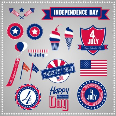 Set of design elements for Independence Day, July 4