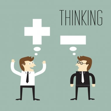 Businessman with positive thinking and Businessman with negative thinking