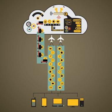Cloud computing concept design infographics