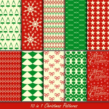 Christmas patterns collection set for making seamless wallpapers