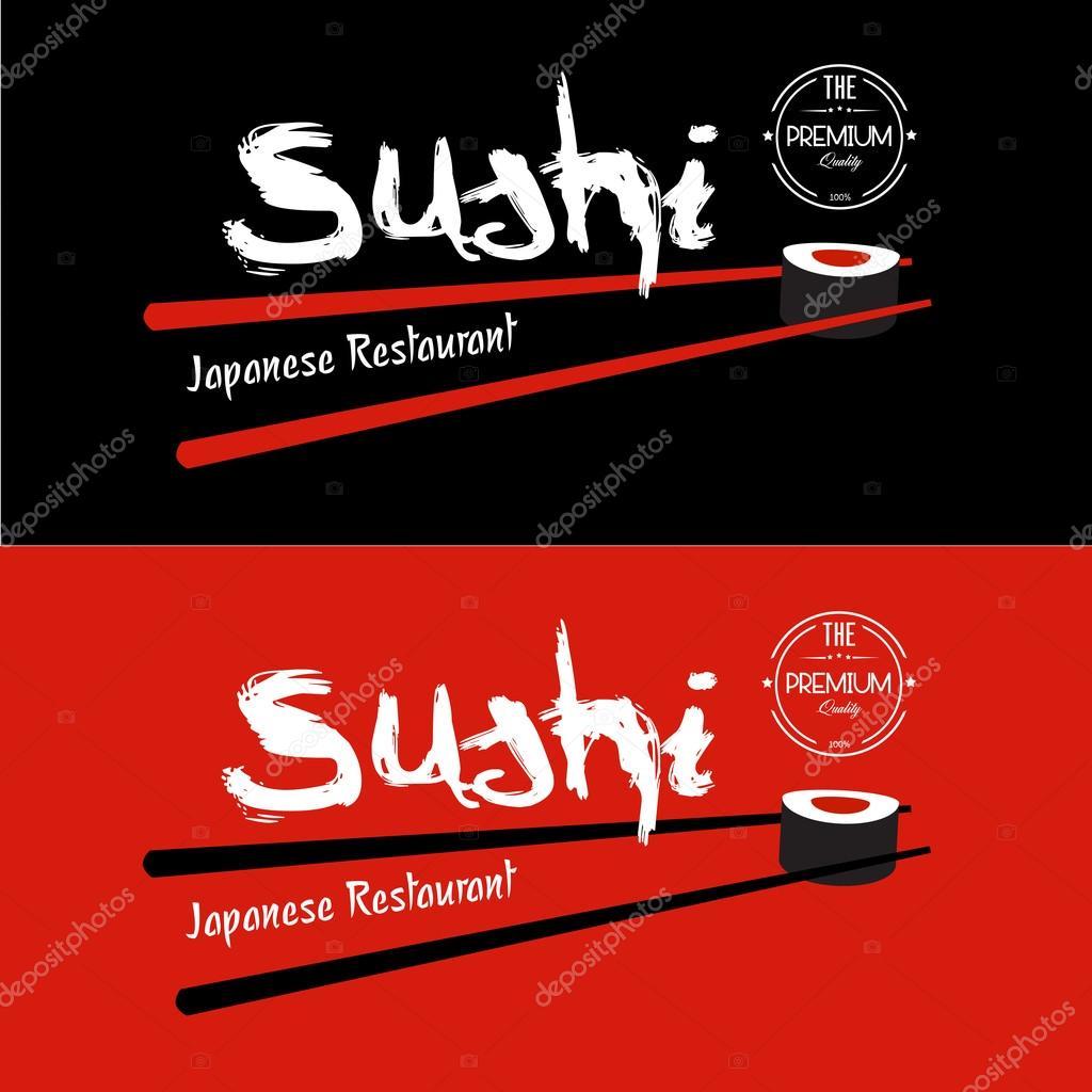 plantilla de diseño de restaurante japonés Sushi — Vector de stock ...