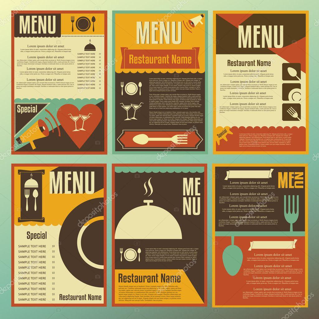 restaurant menu designs collection of retro style vector illust