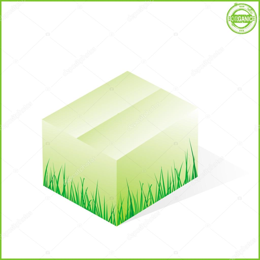 Box with grass, cardboard from organic raw materials
