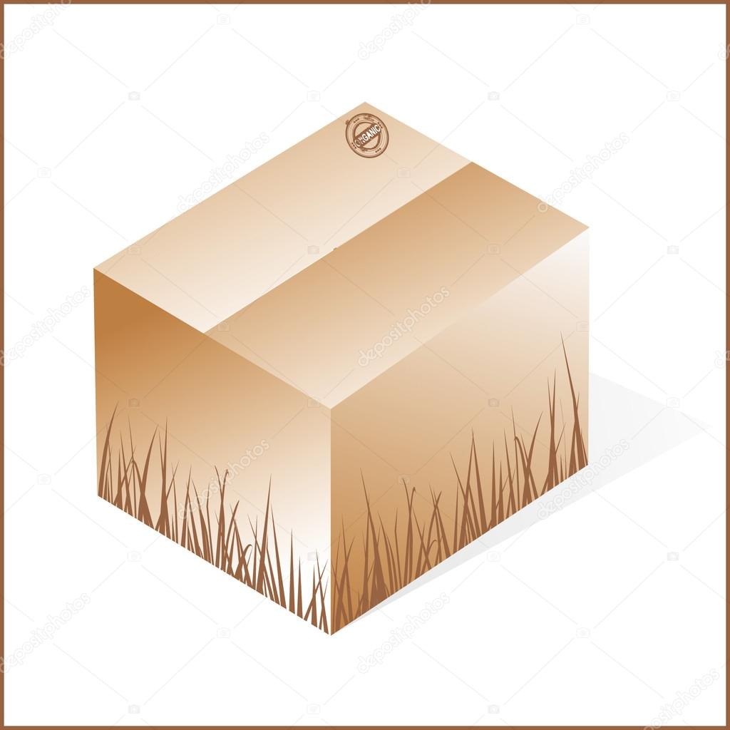 Box with grass, cardboard from organic raw materials, brown, clo