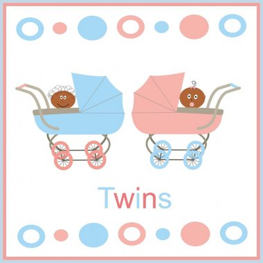 Card for newborn twins with kids