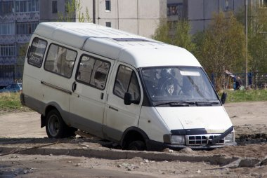 Minibus on cunning russian road