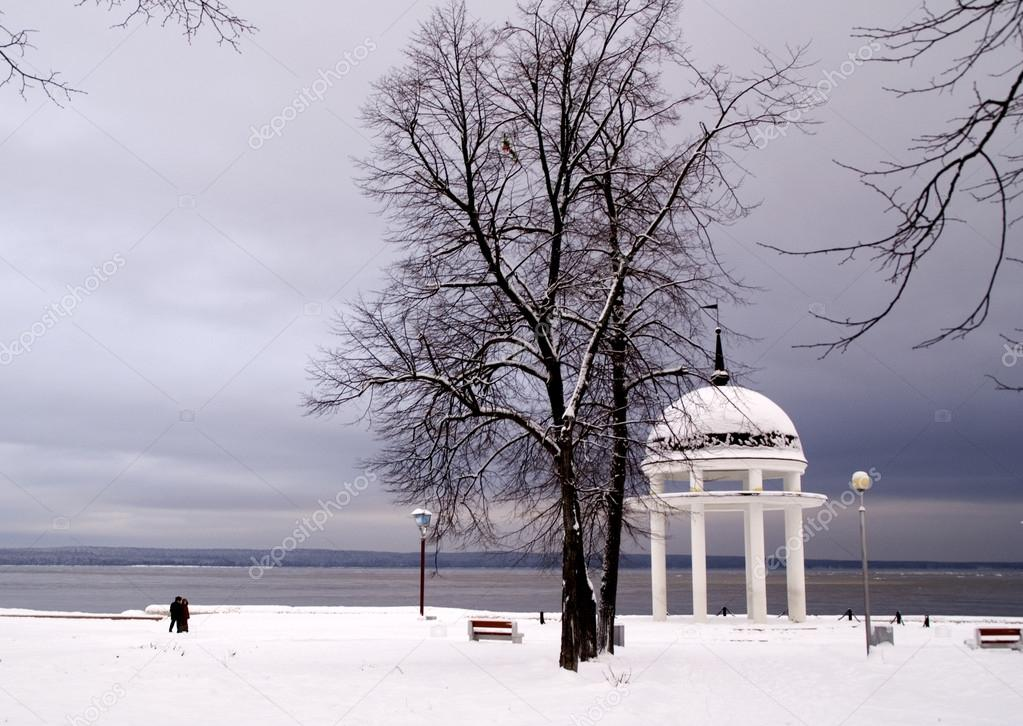 Rotunda on Onego lake in winter