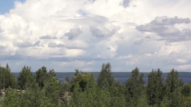 bílá oblaka jezero a Les