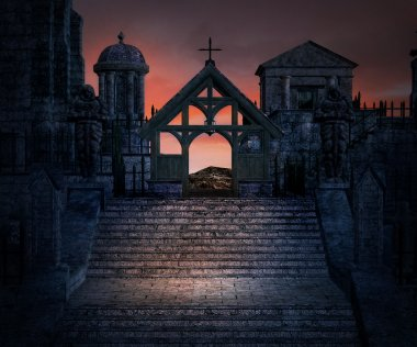 Stone Stairs Dark Gothic Background