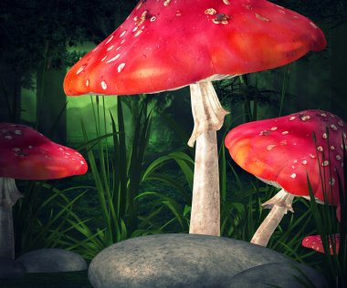 Mushrooms Premade Background