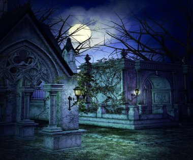 Scary Graveyard Backdrop