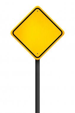 Yellow Traffic Sign on White Background