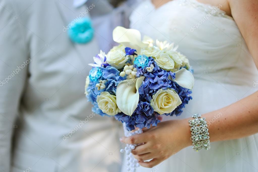 Schone Blaue Und Weisse Frische Blumen Hochzeit Blumenstrauss