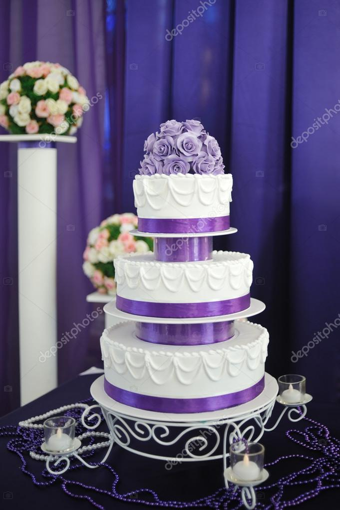 White wedding cake with purple flower detail stock photo timonko white wedding cake with purple flower detail stock photo mightylinksfo