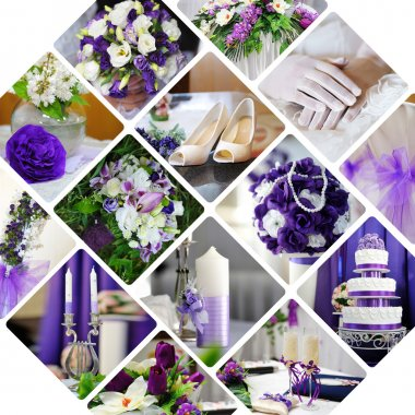 Collage of wedding photos in purple style