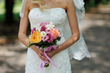 Beautiful bridal bouquet with Roses
