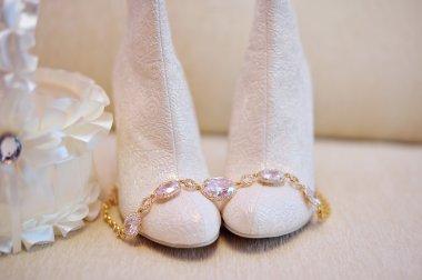 White wedding bride shoes